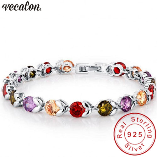 Vecalon Women's Sterling Silver Multi Color CZ Flower Bracelet