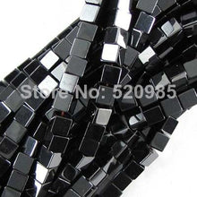 Hematite Coated Stone Cube Beads 4mm 16in strand Black Gold Silver or Rainbow