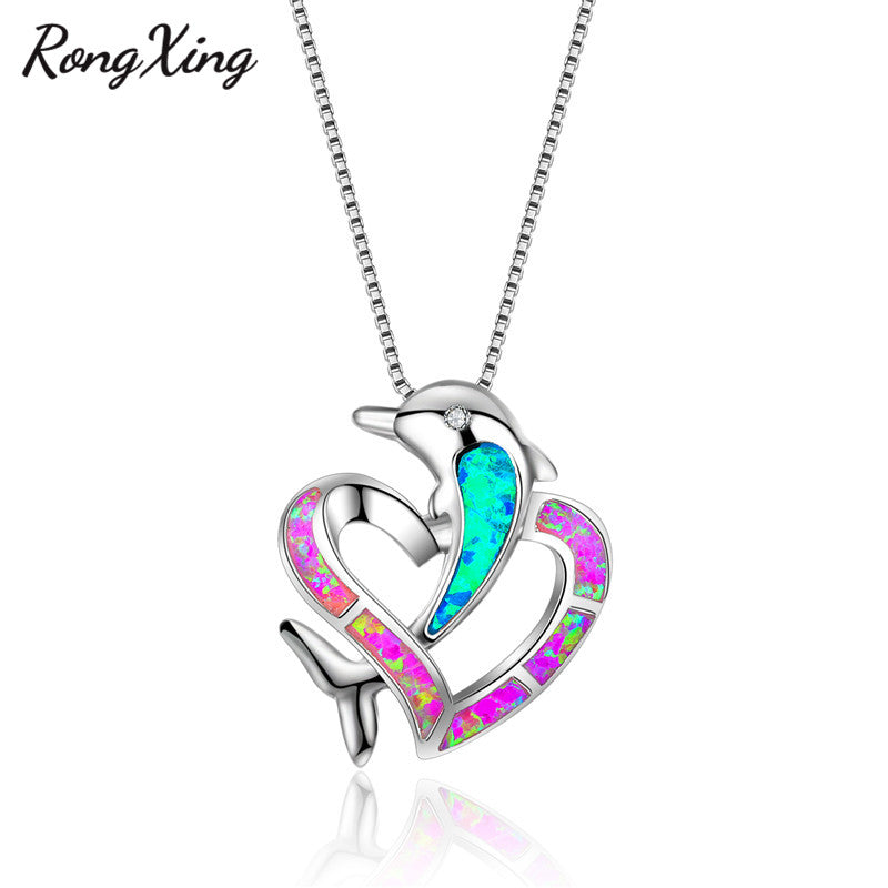 RongXing 925 Sterling Silver Pendant Necklace Dolphin and Heart Fire Opal