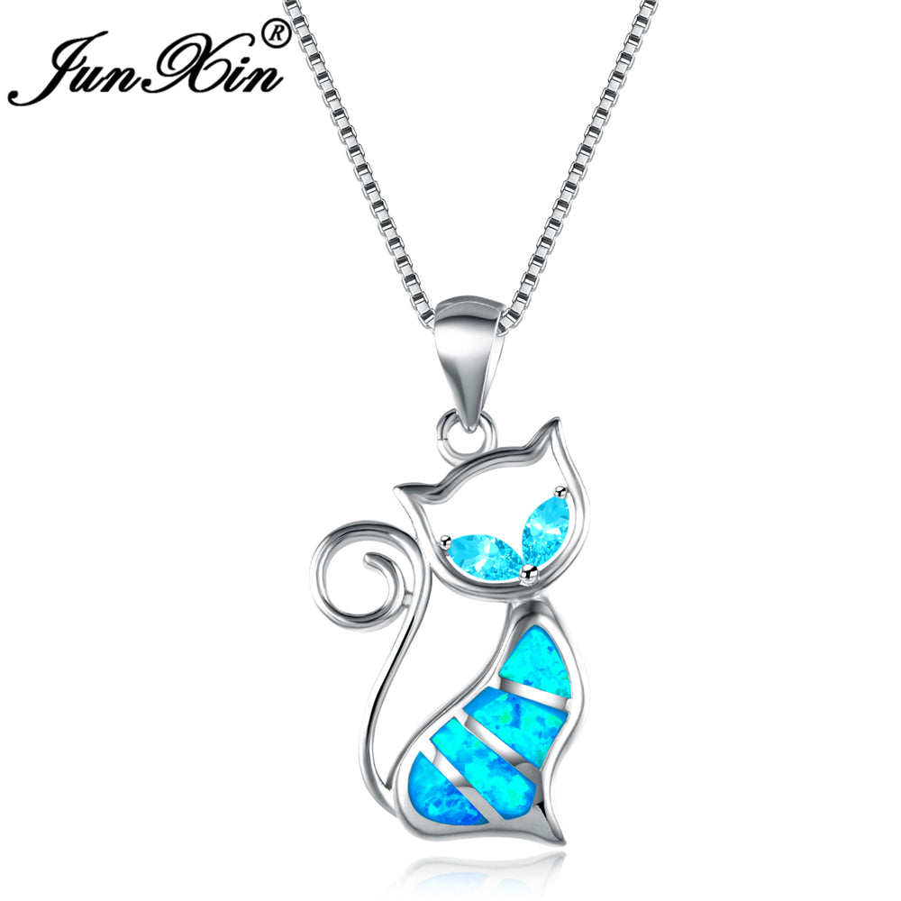 925 Sterling Silver Filled Cat with Blue Fire Opal Pendant Necklace