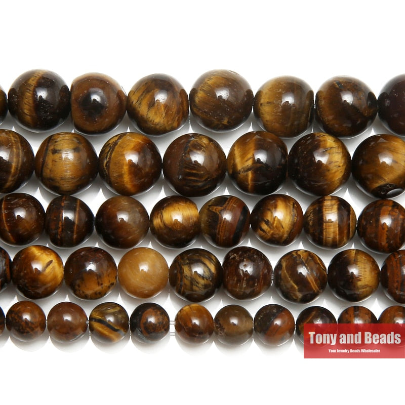 Natural Stone Brown Tiger Eye Round Beads 15in Strand 3-14MM Options