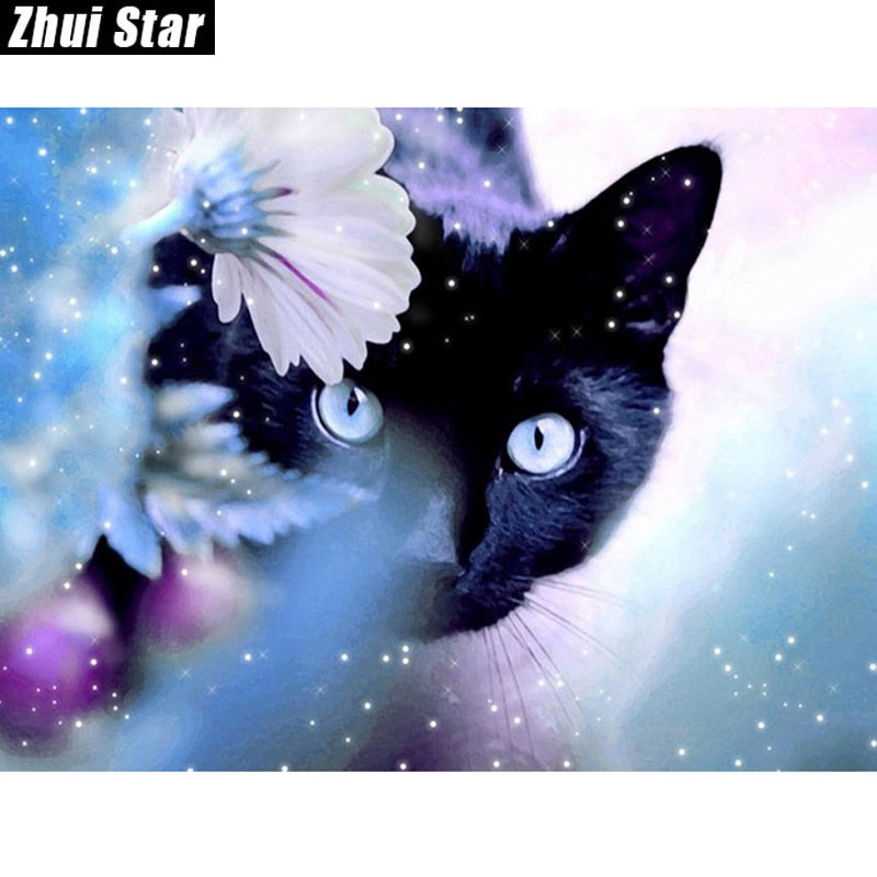 5D DIY Mystical Black Cat Diamond Painting Cross Stitch - Craft Kit