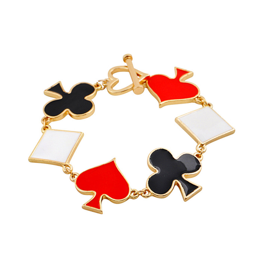 MS Small Gold Tone Women's Playing Cards Symbols Bracelet