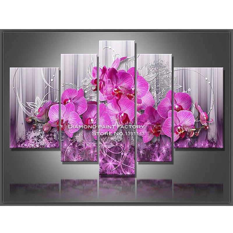 5D DIY Diamond Painting Hot Pink Orchids on Gray Lavender Multi Panel - craft kit
