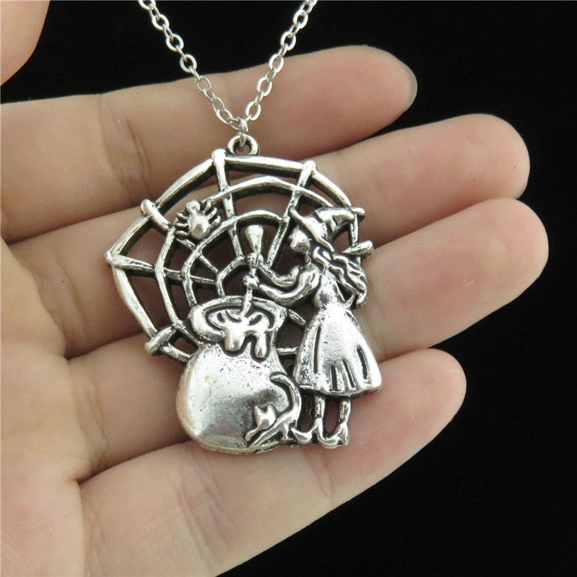 GLOWCAT Women's Antique Silver Tone Halloween Witch Spiderweb Necklace 18in