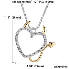Rinhoo Women's Two Tone Devil Heart Pendant Necklace with Crystal Rhinestones