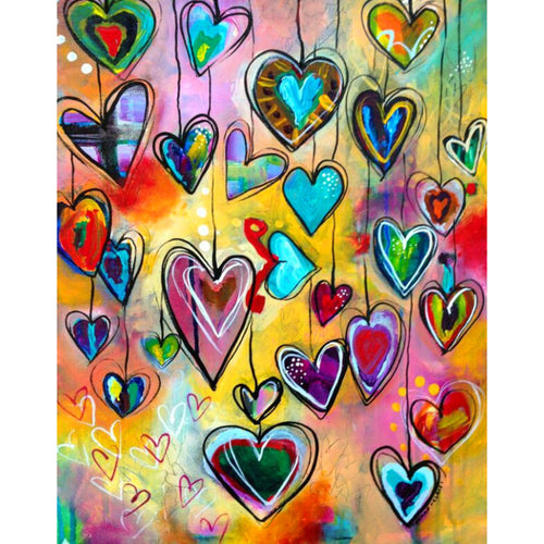 5D DIY Diamond Painting Colorful Hearts on Strings Drawing - craft kit