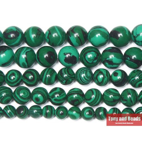 Synthetic Green Malachite Round Stone Beads 15in Strand, 3 to 14MM size options