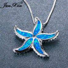 JUNXIN 925 Sterling Silver Filled Blue Fire Opal Starfish Pendant Necklace