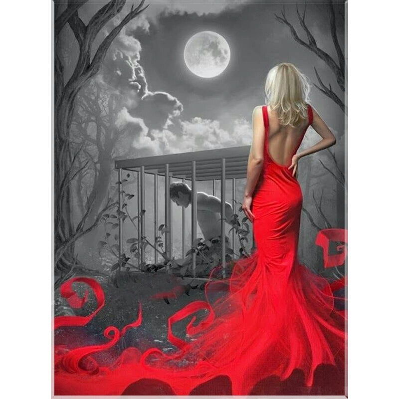 DIY Diamond Painting Red Dress Romance under the Moon - craft kit