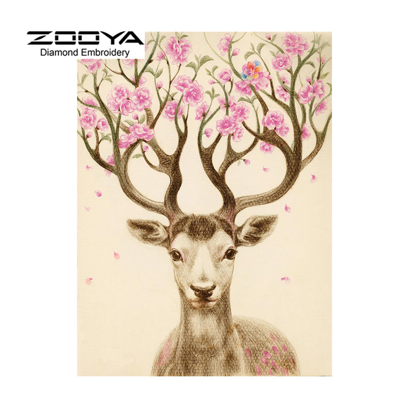 5D DIY Diamond Painting Deer Pink Flowers in Antlers - Craft Kit