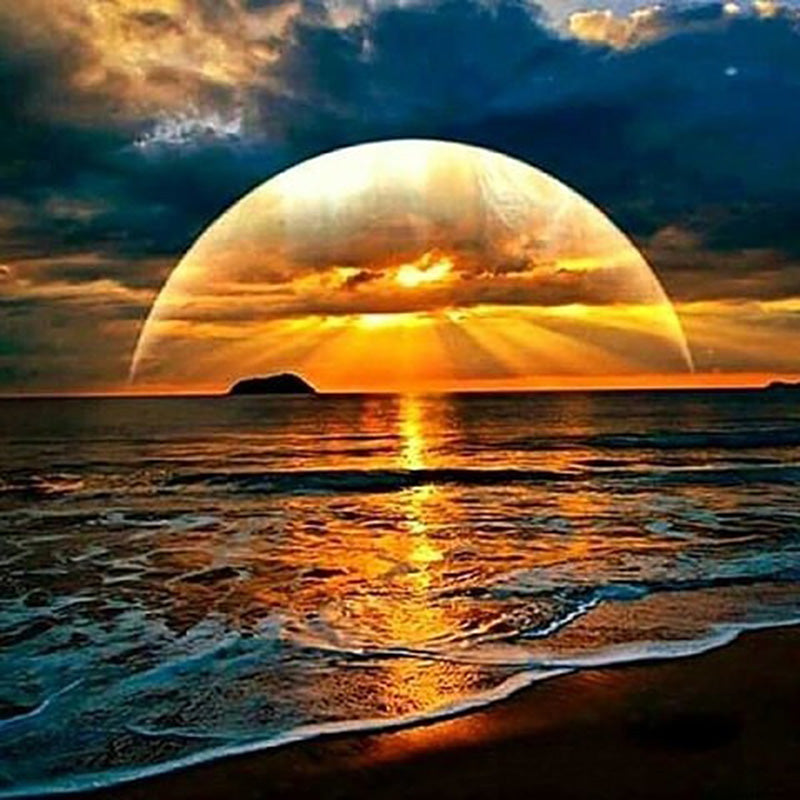 5D DIY Diamond Painting Sunset Over the Beach - craft kit