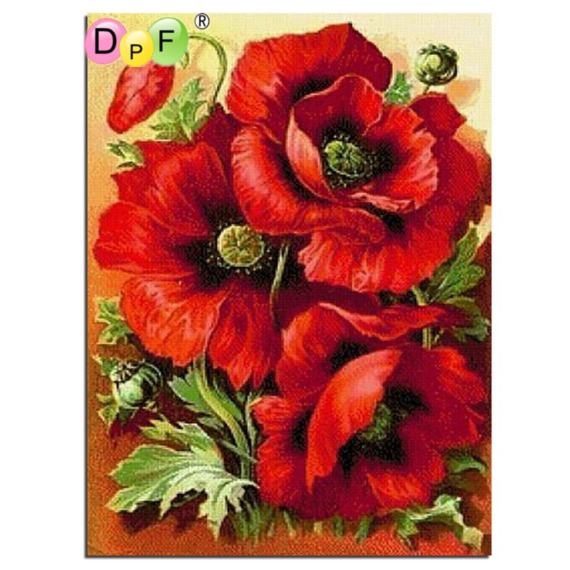 DIY Diamond Painting Three Large Red Poppies - craft kit