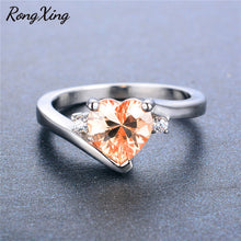 RongXing Women's Heart Ring Champagne Peach CZ, Black or White Gold Filled Option