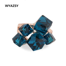 Women's Rose Gold Color Ring Crystal Cube Geometric Blue Zircon Red Clear or Purple