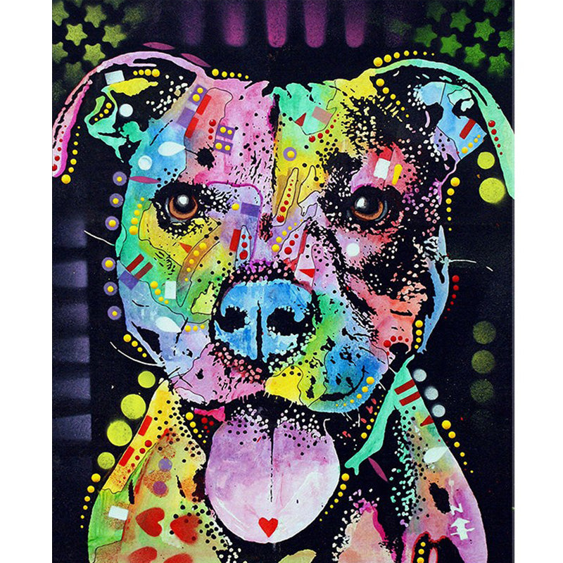 5D DIY Diamond Painting Pastel Patchwork Pit Bull Dog - craft kit