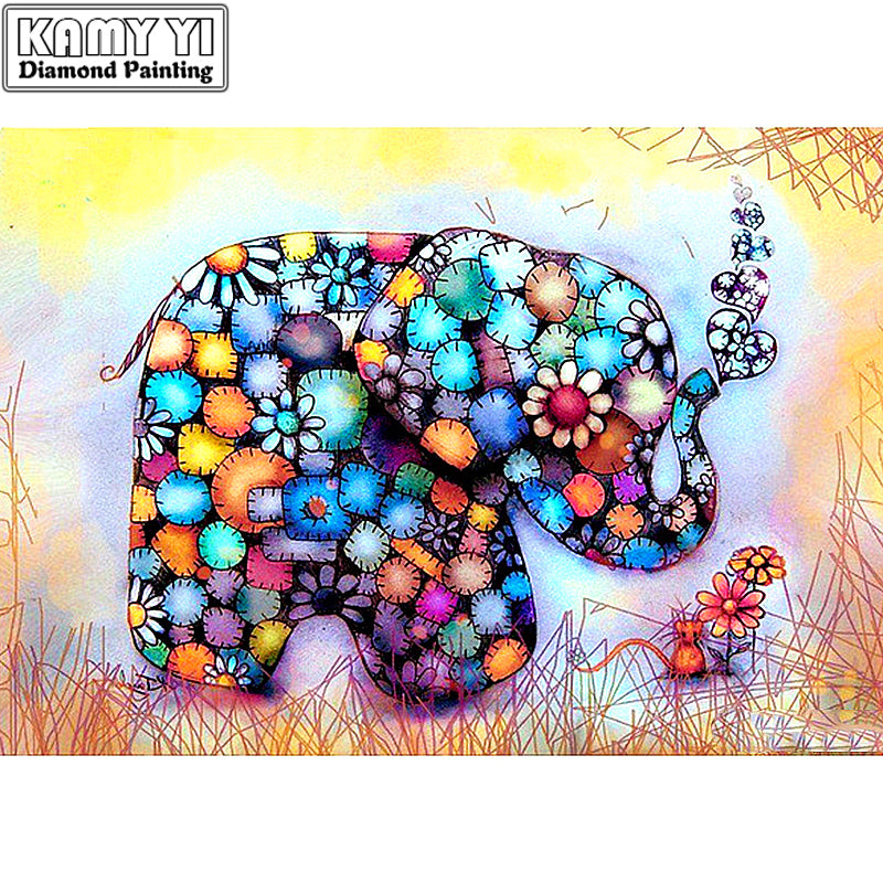 5D DIY Diamond Painting Patchwork Elephant - craft kit