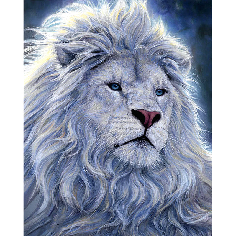 5D DIY Diamond Painting Majestic White Lion Head - craft kit