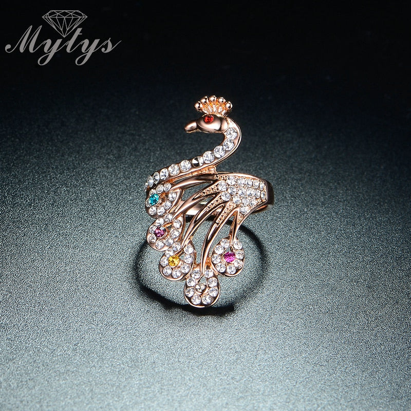 Mytys Women's Delicate Rose Gold and Micro Pave CZ Peacock Ring