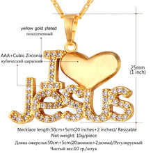 U7 Gold or Silver Tone I Love Jesus Pendant Necklace