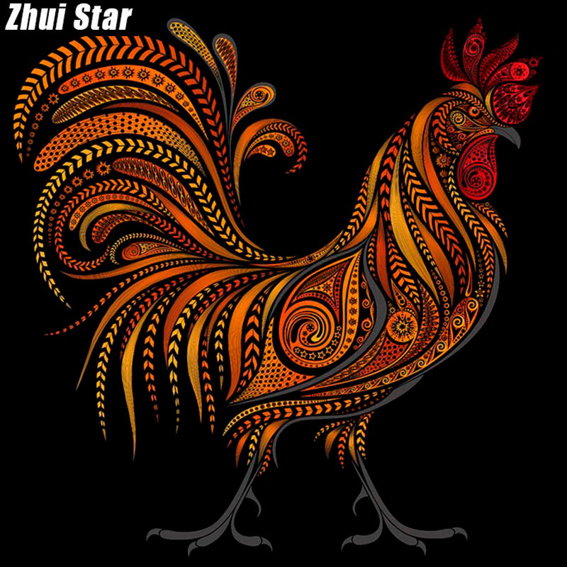5D DIY Diamond Painting Rooster Lines - Craft Kit