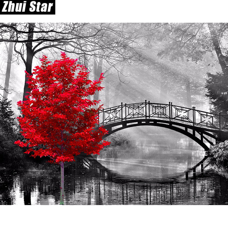 5D DIY Diamond Painting Red Maple Tree Grayscale Bridge - craft kit