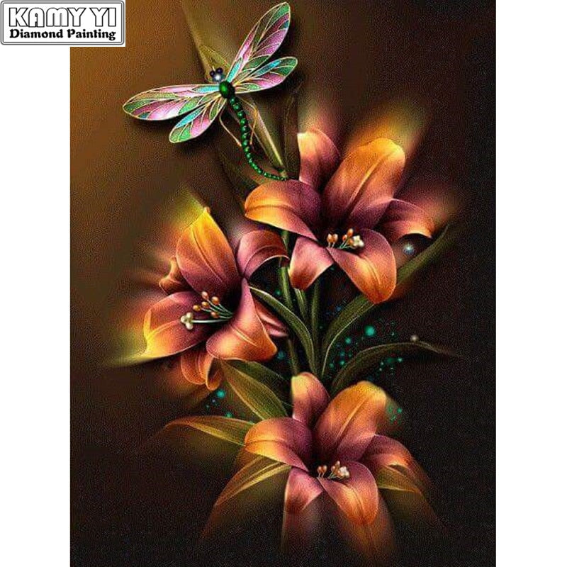 5D DIY Diamond Painting Dark Lilies and Dragonfly - craft kit