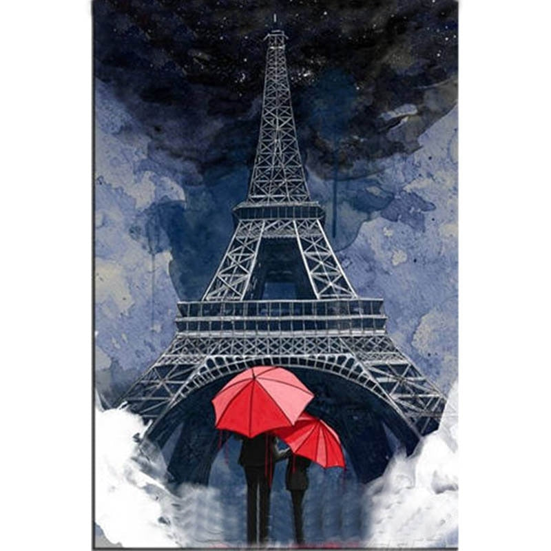 DIY Diamond Painting Eiffel Tower Red Umbrella Pair - craft kit