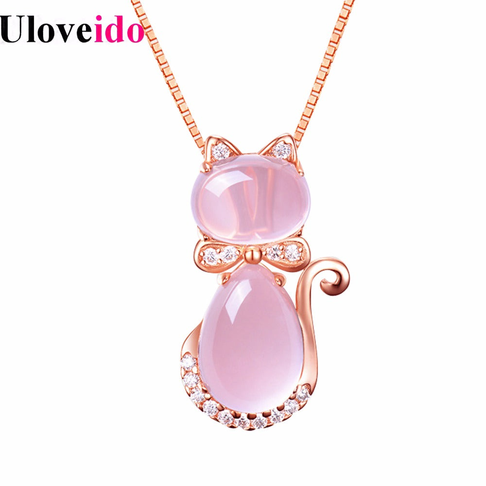 Uloveido Women's Rose Gold Color Pink Rose Quartz Cat Necklace