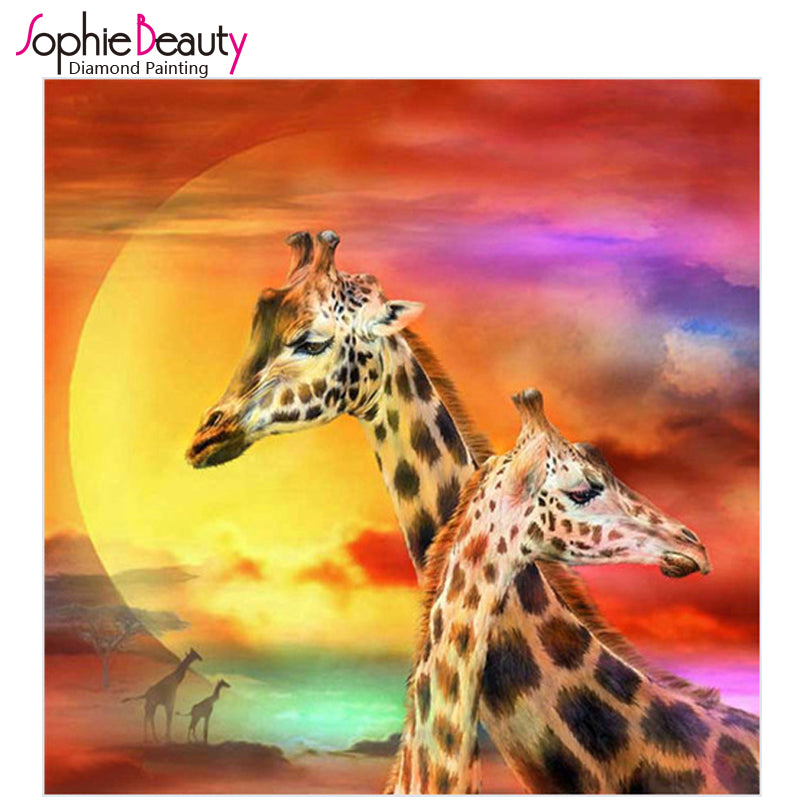 3D DIY Diamond Painting Giraffe Pair in the Sunset - Craft Kit