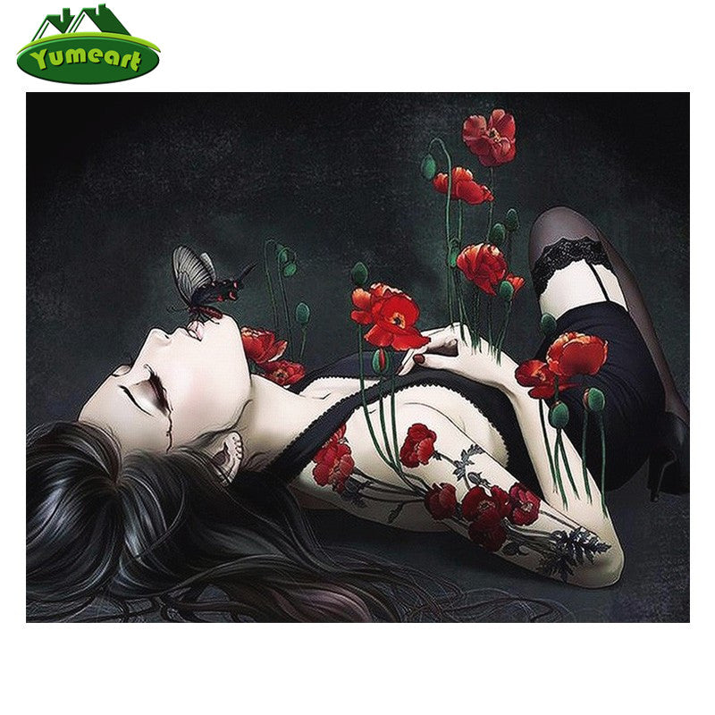 3D DIY Diamond Painting Black Lingerie and Poppies Woman - craft kit