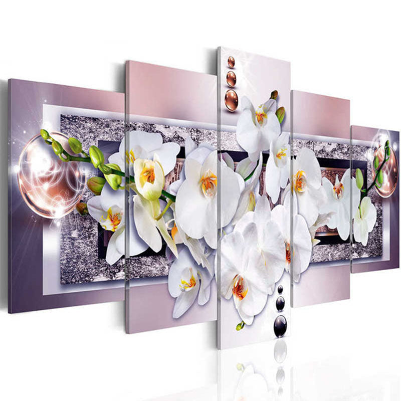 5D DIY Diamond Painting White Orchid Flowers Multi Panel - craft kit
