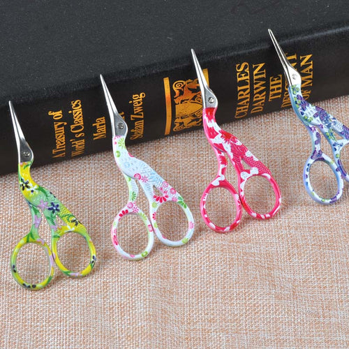 Small Floral Painted Sewing Scissors Heron Shape Stainless Steel