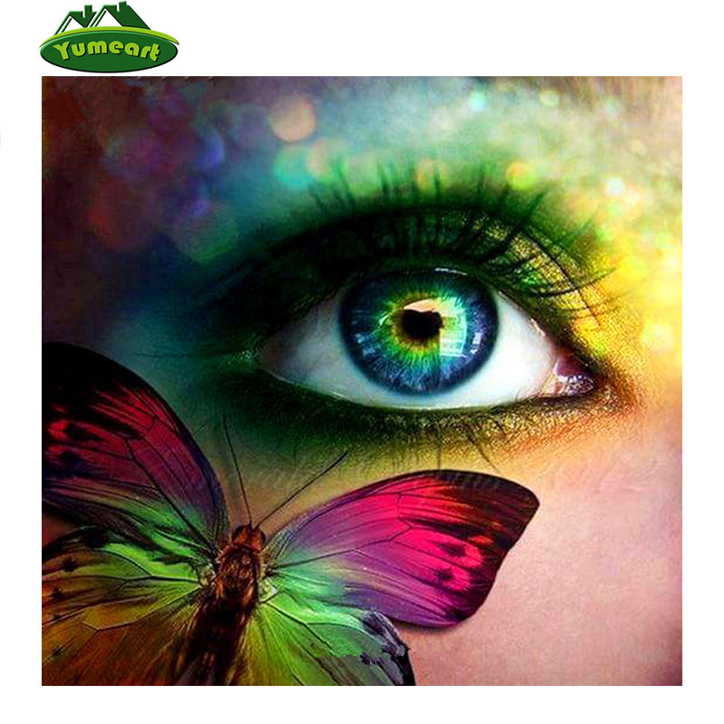 DIY Diamond Painting Blue Green Rainbow Butterfly Eye - craft kit