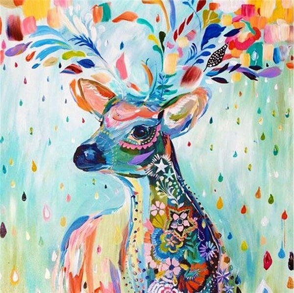 5D DIY Diamond Painting Blue Confetti Deer - craft kit