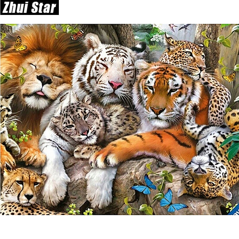 5D DIY Diamond Painting Tigers Lion and Leopard - craft kit