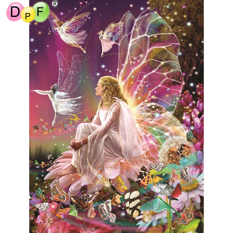 5D DIY Diamond Painting Fairies on Dark Rainbow - craft kit