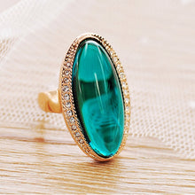 MOONROCY Rose Gold Color Turquoise Green Oval CZ Ring