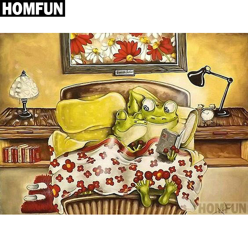 5D DIY Diamond Painting Cartoon Frog Couple in Bed - craft kit
