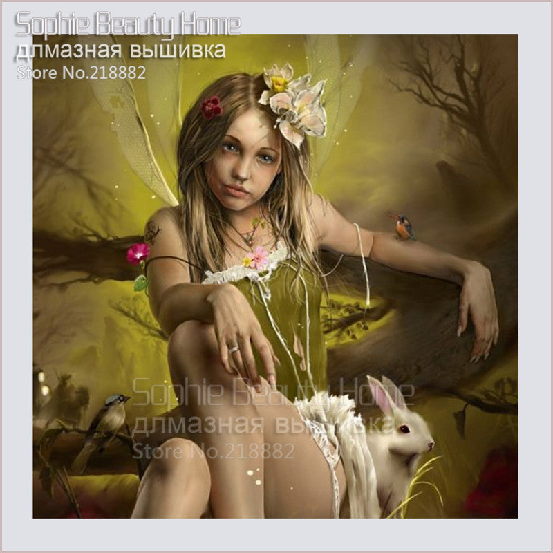 5D DIY Diamond Painting Drab Fairy and White Rabbit - craft kit