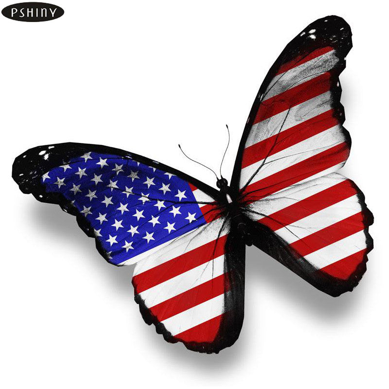 5D DY Diamond Painting Patriotic Butterfly - Craft Kit
