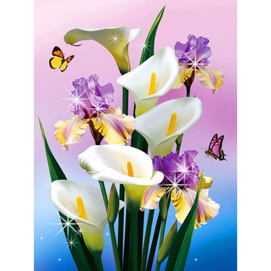 5D DIY Diamond Painting Calla Lilies and Irises - Craft Kit