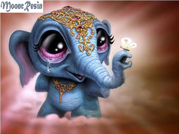 3D DIY Diamond Painting Cartoon Big Eye Blue Baby Elephant - craft kit