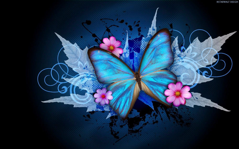 3D DIY Diamond Painting Blue Butterfly Splash - Craft Kit