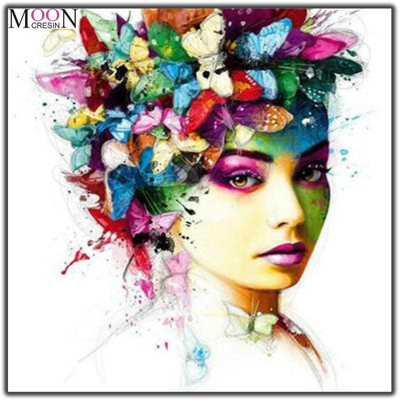 5D DIY Diamond Painting Woman with Butterfly Hair - Craft Kit