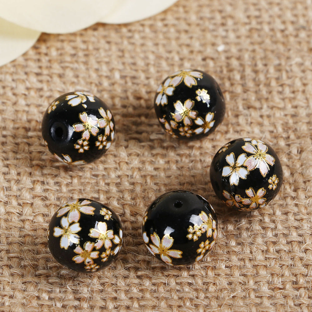 Glass Painting Japanese Floral Tensha Beads 12mm 5 pcs, 6 color options