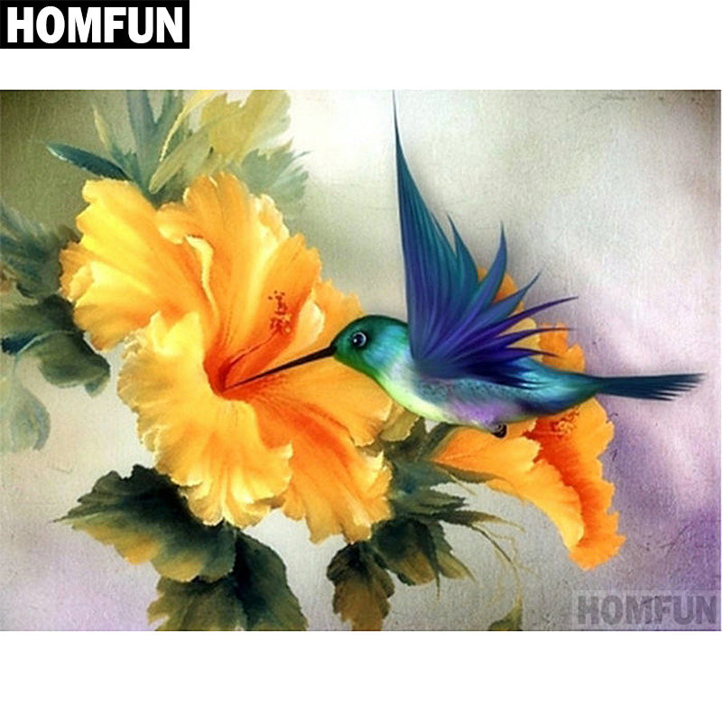 5D DIY Diamond Painting Hummingbird in Yellow Hibiscus - craft kit