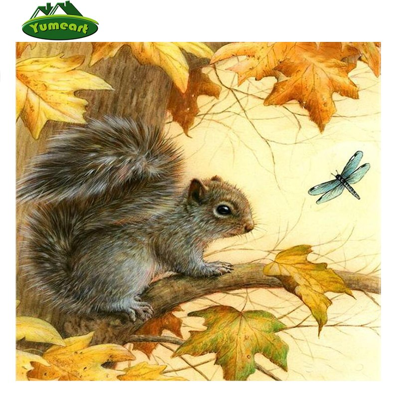 5D DIY Diamond Painting Fall Squirrel and Dragonfly - craft kit