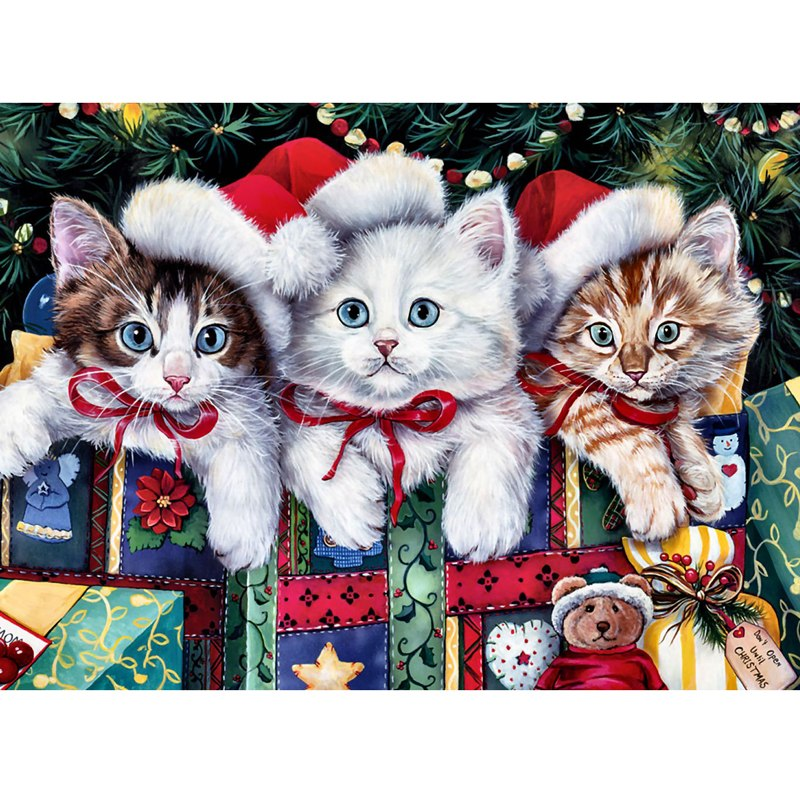 5D DIY Diamond Painting Christmas Kittens in Presents Drawing - craft kit