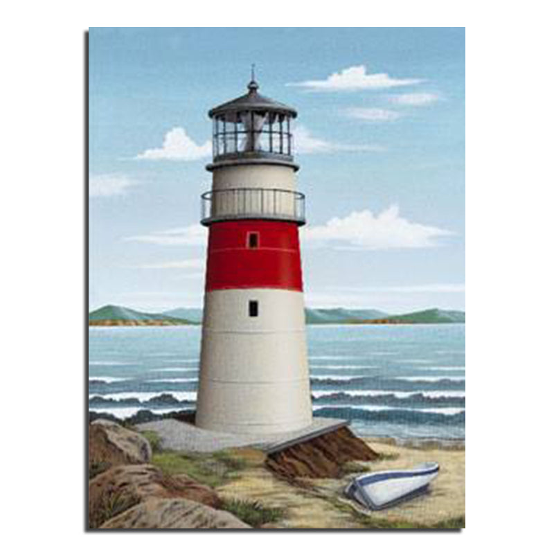 DIY Diamond Painting Red and White Lighthouse - craft kit